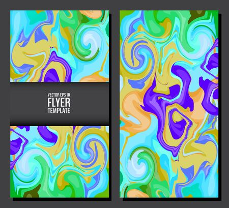 Flyer template set with marble texture backgrounds in bright colors. Colorful flyers with marble swirls. 80s style flyers. Vector illustration for your graphic design. Foto de archivo - 130020788