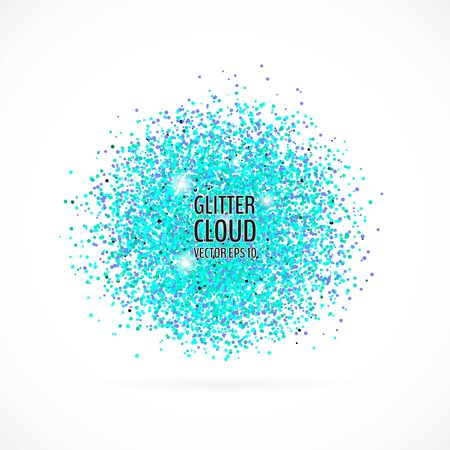 Bright blue shining cloud background. Glittering particles round backdrop. Vector illustration for your graphic design. 向量圖像