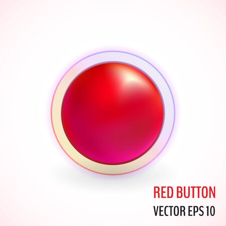 Decline red button. Vector no button. Vector illustration for your graphic design.
