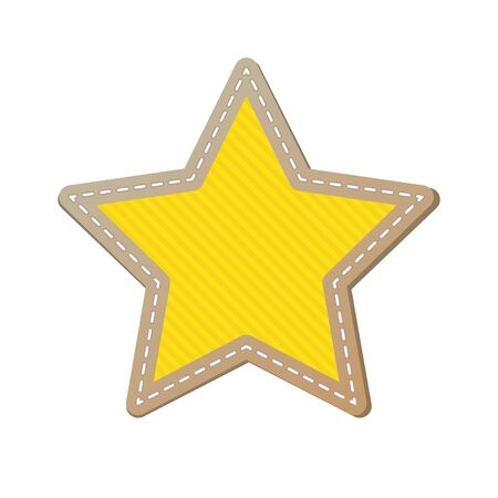 Simple textured star on white background. Yellow star with fringe on white background. Vector illustration.