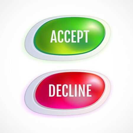 Set of decline and accept colorful buttons. Vector buttons. Vector illustration for your graphic design.