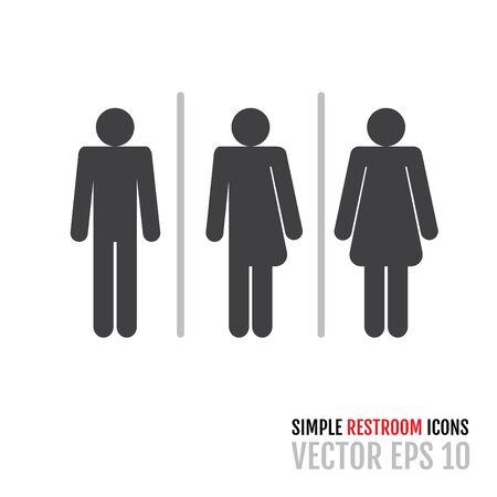 Ensemble d'icônes de toilettes traditionnelles, y compris une icône neutre en matière de genre. Illustration vectorielle pour votre conception graphique. Vecteurs