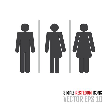 Set of traditional restroom icons including gender neutral icon. Vector illustration for your graphic design.