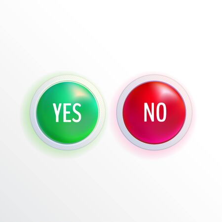 Set of yes and no colorful buttons. Vector buttons. Vector illustration for your graphic design.