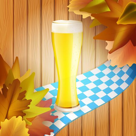 Oktober fest banner with glass of beer, colorful leaves and checkered ribbon on wooden background. Vector illustration for your graphic design. Foto de archivo - 130021003