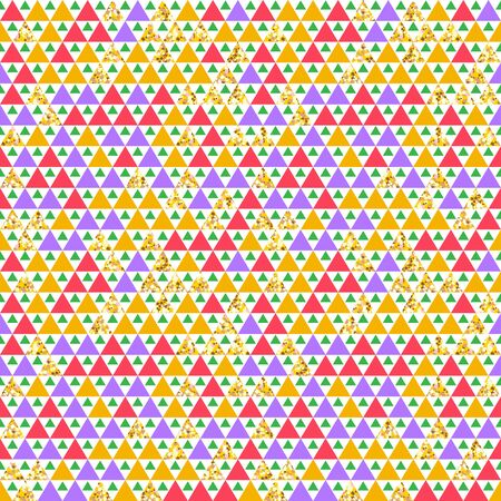 Cute north seamless triangle pattern with golden elements.  Vector illustration for your graphic design.