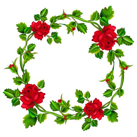 Marco de flores aislado sobre fondo blanco. Corona de rosas rojas. Rosas con hojas en círculo con lugar para el texto o la imagen. Malla. Ilustración de vector