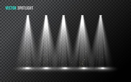 Row of white vector spotlight. Vector illustration for your graphic design.