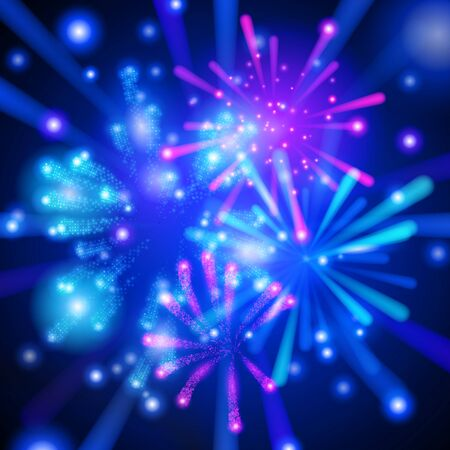 Colorful and bright vector fireworks on dark background. Vector illustration for your graphic design.