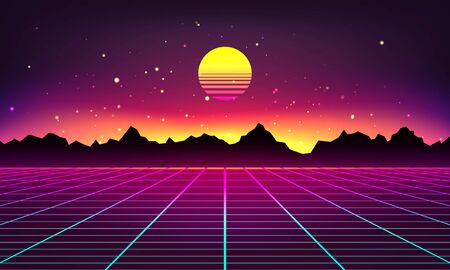 Retro futuristic abstract background made in 80s style. Abstract background with neon grids and mountains silhouette in vintage style. Vector illustration for your graphic design.