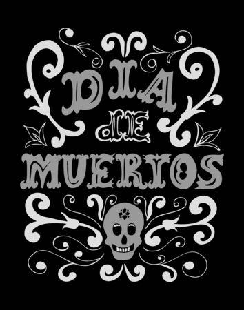 Dia de los Muertos hand drawn poster. Day of the dead vintage vertical poster.Vector illustration for your graphic design. Foto de archivo - 130021363