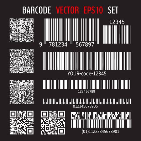 Set of various bar codes, qr codes and post codes isolated on dark background. Vector illustration for your graphic design.