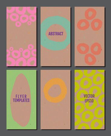 Flyer template set with rustic texture backgrounds in bright colors.  simple geometric elements. 80s style flyers. Vector illustration for your graphic design. Foto de archivo - 130021371