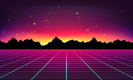 Abstrait rétro futuriste fait dans le style des années 80. Abstrait avec grilles au néon et silhouette de montagnes dans un style vintage. Illustration vectorielle pour votre conception graphique.