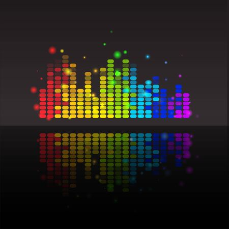 Abstract equalizer with reflection colorful background. Vector illustration for your graphic design. Ilustrace