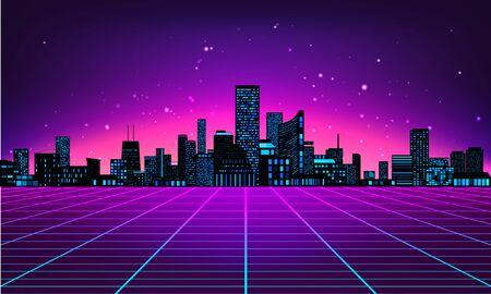 Fondo abstracto futurista retro hecho en estilo años 80. Fondo abstracto con silueta de ciudad de rejillas de neón en estilo vintage. Ilustración de vector para su diseño gráfico.