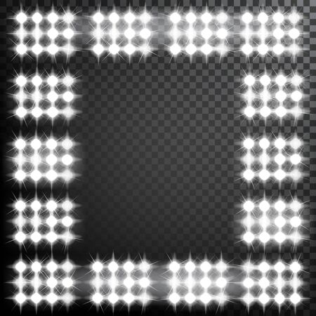 Glowing spotlights. Set of illumination stage lights. Frame with rows of lamps. Vector illustration for your graphic design.