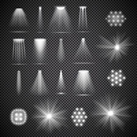 Zestaw półprzezroczystych reflektorów scenicznych z dymem. Różne oświetlenie sceniczne. Ilustracja wektorowa do projektowania graficznego.