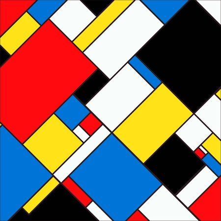 Colorful and bright background with blocks in mondrian style. Vector illustration for your graphic design.