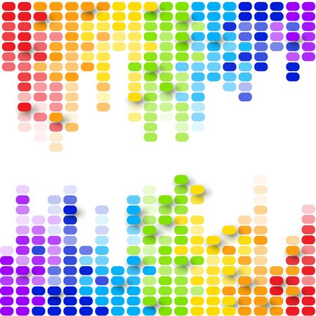 Abstract equalizer colorful background with rainbow particles. Vector illustration for your graphic design.