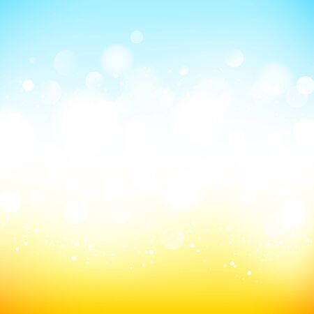Abstract neutral background with bokeh effect. Light blue and yellow abstract backdrop with white particles. Vector illustration for your graphic design. Ilustração