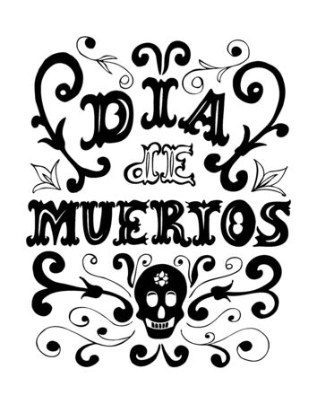 Dia de los Muertos hand drawn poster. Day of the dead vintage vertical poster.Vector illustration for your graphic design. Foto de archivo - 130021692