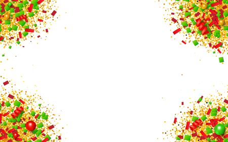Colorful glitter, confetti and beads explosion frame with traditional Christmas colors. Red, green and golden particles on white background. Vector illustration for your graphic design.