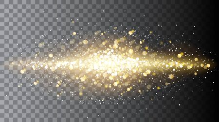 Half transparent shining abstract line of golden particles. Magic confetti explosion. Vector illustration for your graphic design.