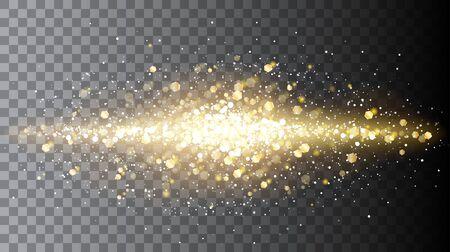 Linea astratta brillante mezza trasparente di particelle dorate. Esplosione di coriandoli magici. Illustrazione vettoriale per il tuo design grafico.