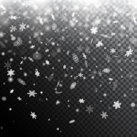 Vector winter holiday background with falling snowflakes. Vector illustration for your graphic design. Foto de archivo - 130021761