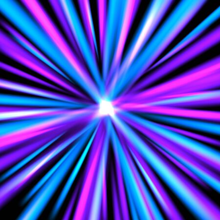 Abstract background with rays of colorful lights. Abstract backdrop in blue and violet colors. Vector illustration for your graphic design.