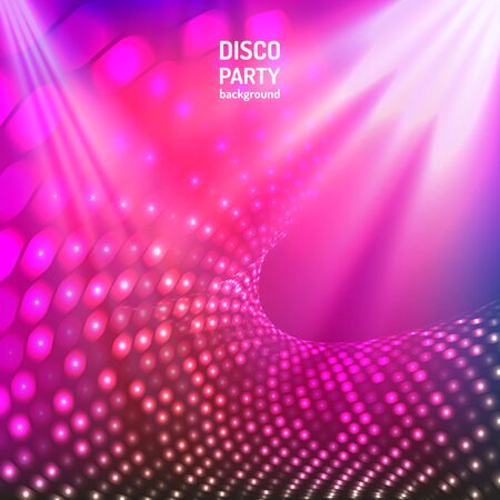 Colorful and bright pink and purple disco party background. Vector illustration for your graphic design. Ilustrace
