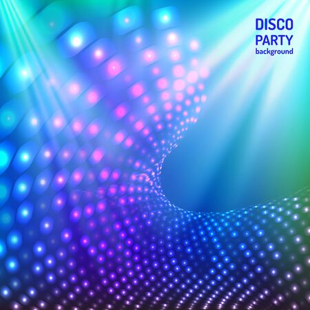 Colorful and bright blue disco party background. Vector illustration for your graphic design.