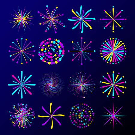 Set of simple colorful vector fireworks isolated on white background. Various abstract star shapes. Vector illustration for your graphic design.
