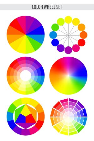 Set of various color wheels isolated on white background. Vector illustration for your graphic design. Vectores