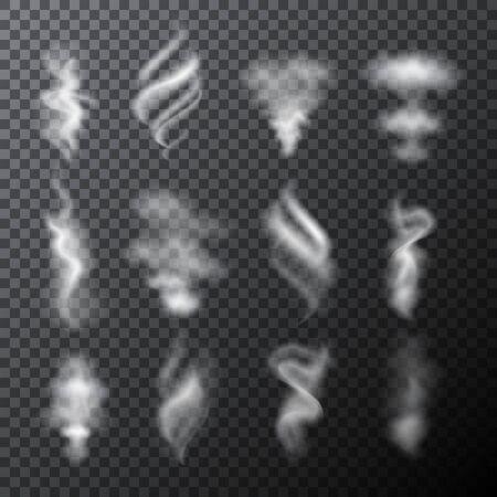 Zestaw pół przezroczystego wektora białych chmur lub elementów dymu. Ilustracja wektorowa do projektowania graficznego. Ilustracje wektorowe