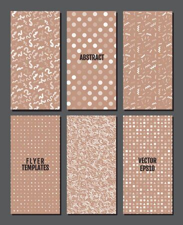 Flyer template set with rustic texture backgrounds in white and brown colors.  Simple geometric elements. 80s style flyers. Vector illustration for your graphic design. Foto de archivo - 130021820
