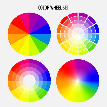 Conjunto de varias ruedas de colores aisladas sobre fondo blanco. Ilustración de vector para su diseño gráfico.