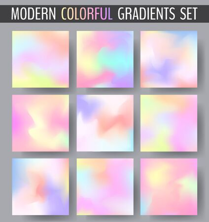 Set of various colorful blurry bokeh backgrounds with swirled color shapes. Vector illustration for your graphic design. Ilustração