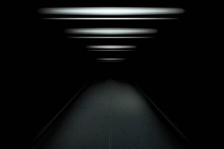 Dark and empty tunnel with dim light. Vector illustration for your graphic design. Ilustração