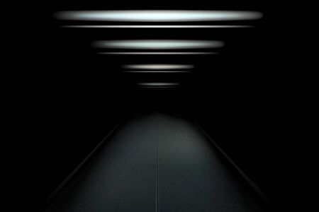 Dark and empty tunnel with dim light. Vector illustration for your graphic design. Illustration