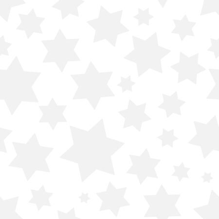 Simple neutral seamless pattern with grey stars on white background. Vector illustration for your graphic design.