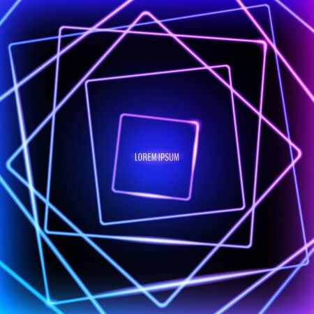 Abstract vector background with square neon frames. Vector illustration for your graphic design.