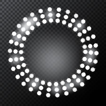 Glowing circle spotlights. Set of illumination stage lights. Rows of lamps. Vector illustration for your graphic design.