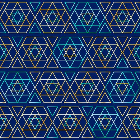 Seamless jewish pattern with judaism star. Vector illustration for your graphic design.
