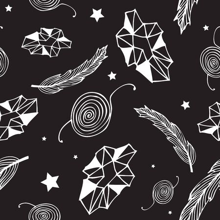 Seamless black hippie pattern with feathers, gems, stars and abstract elements on dark background. Hand drawn repetitive pattern. Vector illustration for your graphic design. Çizim