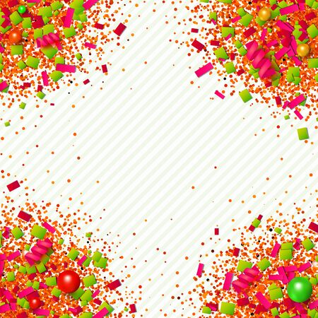 Colorful glitter, confetti and beads explosion frame with traditional Christmas colors. Red, green and golden particles on light background. Vector illustration for your graphic design.
