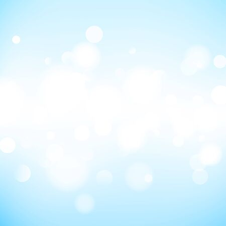 Abstract neutral background with bokeh effect. Light blue abstract backdrop with white particles. Vector illustration for your graphic design. Ilustração