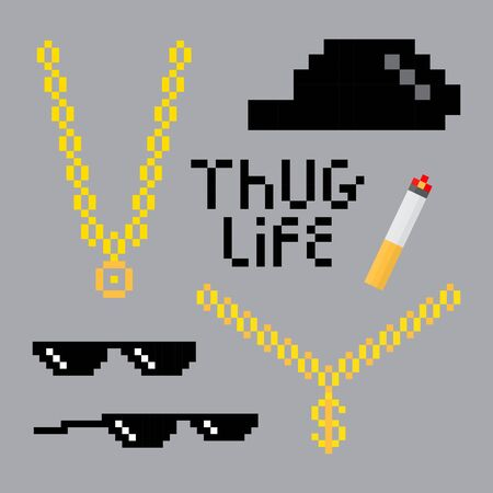 Pixel de style de vie de voyou serti d'une chaîne dorée, de lunettes noires, d'un chapeau et d'une cigarette. Illustration vectorielle pour votre conception graphique.