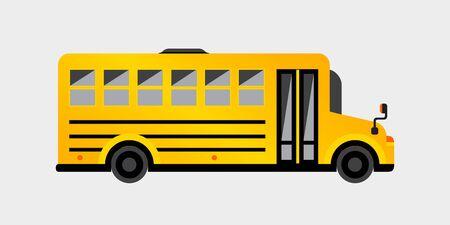 Scuolabus giallo semplice. Illustrazione vettoriale per il tuo design grafico.